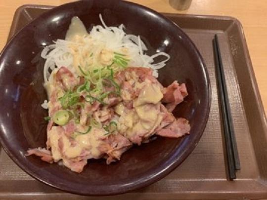どんぶりに入ったご飯とお肉と玉ねぎの画像
